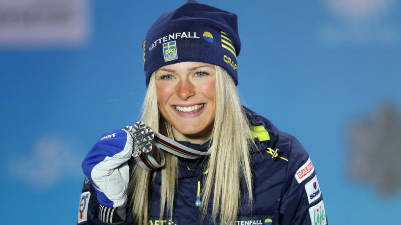 SEEFELD, AUSTRIA - FEBRUARY 27: Silver medalist Frida Karlsson of Sweden celebrates with her medal during the medal ceremony for Cross-Country Women's 10km at the Medal Plaza on February 27, 2019 in Seefeld, Austria. (Photo by Linnea Rheborg/Getty Images)