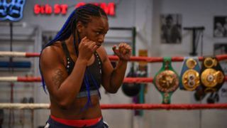 MIAMI, FL - APRIL 04: WBA, WBC and IBF Middleweight World Champion Claressa Shields works out for the media at 5th Street Gym on April 4, 2019 in Miami, Florida. Shields is training to fight WBO Middleweight World Champion Christina Hammer for the undisputed middleweight world championship April 13. (Photo by Mark Brown/Getty Images)