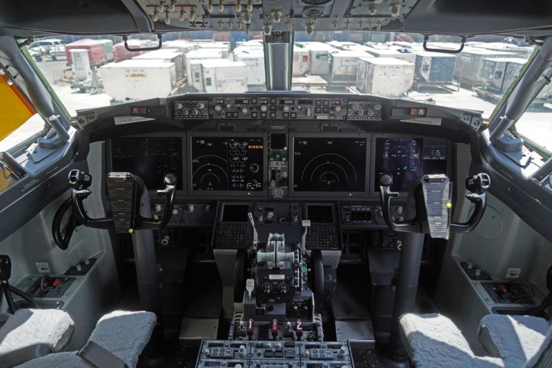 FILE: The cockpit of a grounded Lion Air Boeing Co. 737 Max 8 aircraft is seen at terminal 1 of Soekarno-Hatta International Airport in Cenkareng, Indonesia, on Tuesday, March 15, 2019. Boeing Co. Chief Executive Officer Dennis Muilenburg apologized Thursday for the 346 lives lost in crashes of Boeing 737 MAX 8 aircraft in Indonesia and Ethiopia, according to a letter made public on the company's website. Photographer: Dimas Ardian/Bloomberg via Getty Images