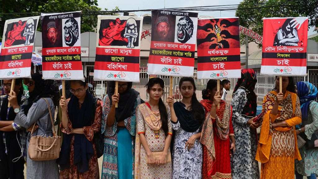 Different organization held a protest rally against the murder of Nusrat Jahan Rafi, a madrasa girl from Feni who was burnt in reprisal after sexual abuse charges against the principal, in Dhaka, Bangladesh, on April 12, 2019. A group of four unidentified persons poured kerosene on the 18-year-old girl and set her afire on April 6 allegedly for refusing to withdraw a case against the principal of Sonagazi Islamia Senior Fazil Madrasa over sexual assault on her late last month. (Photo by Mamunur Rashid/NurPhoto via Getty Images)