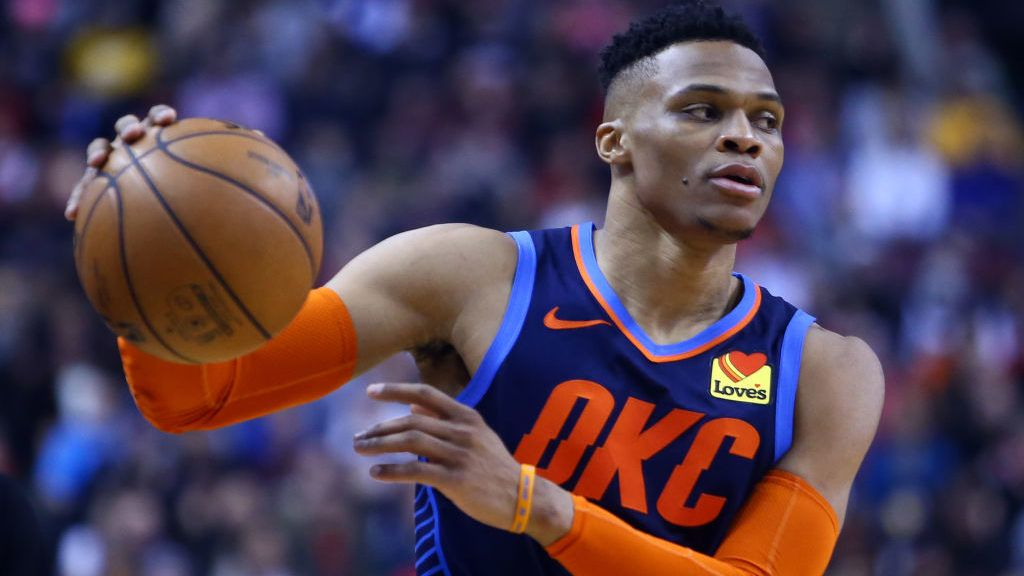TORONTO, ON - MARCH 22:  Russell Westbrook #0 of the Oklahoma City Thunder dribbles the ball during the first half of an NBA game against the Toronto Raptors at Scotiabank Arena on March 22, 2019 in Toronto, Canada.  NOTE TO USER: User expressly acknowledges and agrees that, by downloading and or using this photograph, User is consenting to the terms and conditions of the Getty Images License Agreement.  (Photo by Vaughn Ridley/Getty Images)
