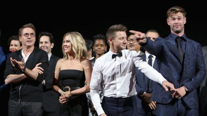 """LOS ANGELES, CA - APRIL 22:  (L-R) Robert Downey Jr., Scarlett Johansson, Jeremy Renner, and Chris Hemsworth attend the Los Angeles World Premiere of Marvel Studios' """"Avengers: Endgame"""" at the Los Angeles Convention Center on April 23, 2019 in Los Angeles, California.  (Photo by Jesse Grant/Getty Images for Disney)"""