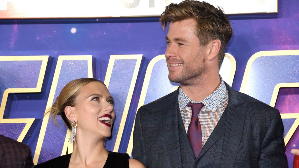 """LONDON, ENGLAND - APRIL 10: Scarlett Johansson and Chris Hemsworth attend the """"Avengers Endgame"""" UK Fan Event at Picturehouse Central on April 10, 2019 in London, England. (Photo by Karwai Tang/WireImage)"""