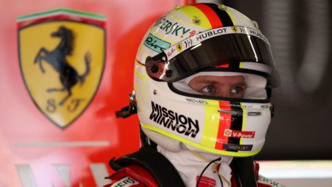 SHANGHAI, CHINA - APRIL 12: Sebastian Vettel of Germany and Ferrari prepares to drive in the garage during practice for the F1 Grand Prix of China at Shanghai International Circuit on April 12, 2019 in Shanghai, China. (Photo by Charles Coates/Getty Images)