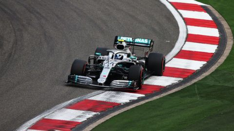 SHANGHAI, CHINA - APRIL 12: Valtteri Bottas driving the (77) Mercedes AMG Petronas F1 Team Mercedes W10 on track during practice for the F1 Grand Prix of China at Shanghai International Circuit on April 12, 2019 in Shanghai, China. (Photo by Charles Coates/Getty Images)