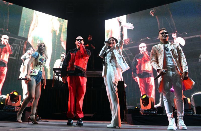 INDIO, CALIFORNIA - APRIL 12: (L-R) Singers Cardi B, DJ Snake, Selena Gomez and Ozuna perform onstage on the Outdoor Stage during Weekend 1, Day 1 of the 2019 Coachella Valley Music and Arts Festival on April 12, 2019 in Indio, California. (Photo by Scott Dudelson/Getty Images for Coachella)