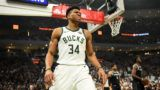 MILWAUKEE, WISCONSIN - APRIL 14: Giannis Antetokounmpo #34 of the Milwaukee Bucks reacts after being fouled during Game One of the first round of the 2019 NBA Eastern Conference Playoffs against the Detroit Pistons at Fiserv Forum on April 14, 2019 in Milwaukee, Wisconsin. NOTE TO USER: User expressly acknowledges and agrees that, by downloading and or using this photograph, User is consenting to the terms and conditions of the Getty Images License Agreement.  (Photo by Stacy Revere/Getty Images)
