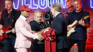 NASHVILLE, TENNESSEE - APRIL 25: NFL commissioner Roger Goodell greets quarterback Kyler Murray after his being drafted first overall on day 1 of the 2019 NFL Draft on April 25, 2019 in Nashville, Tennessee. (Photo by Frederick Breedon/Getty Images)