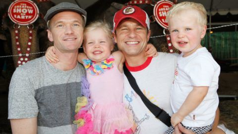 """LOS ANGELES, CA - JULY 14:  Actor Neil Patrick Harris, David Burtka and family attend Ringling Bros. and Barnum & Bailey Circus presents """"Built To Amaze!"""" at Staples Center on July 14, 2013 in Los Angeles, California.  (Photo by Ari Perilstein/WireImage)"""