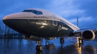 RENTON, WA - DECEMBER 8: The first Boeing 737 MAX  airliner is pictured at the company's manufacturing plant, on December 8, 2015, in Renton, Washington. The plane is the newest, most fuel efficient version of Boeing's best-selling plane. (Photo by Stephen Brashear/Getty Images)