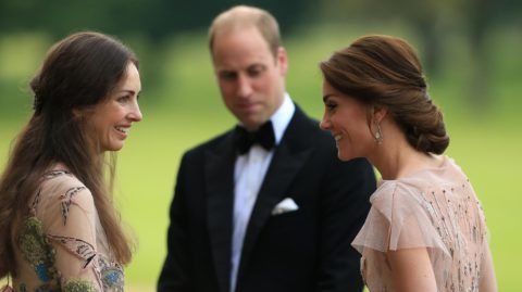 KING'S LYNN, ENGLAND - JUNE 22:  HRH Prince William and Catherine, Duchess of Cambridge are greeted by Rose Cholmondeley, the Marchioness of Cholmondeley as they attend a gala dinner in support of East Anglia's Children's Hospices' nook appeal at Houghton Hall on June 22, 2016 in King's Lynn, England. (Photo by Stephen Pond/Getty Images)