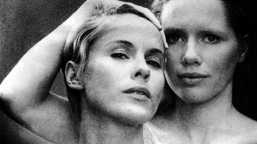 Swedish actress Bibi Andersson and Norwegian actress Liv Ullmann on the set of Persona, written and directed by Ingmar Bergman. (Photo by Sunset Boulevard/Corbis via Getty Images)