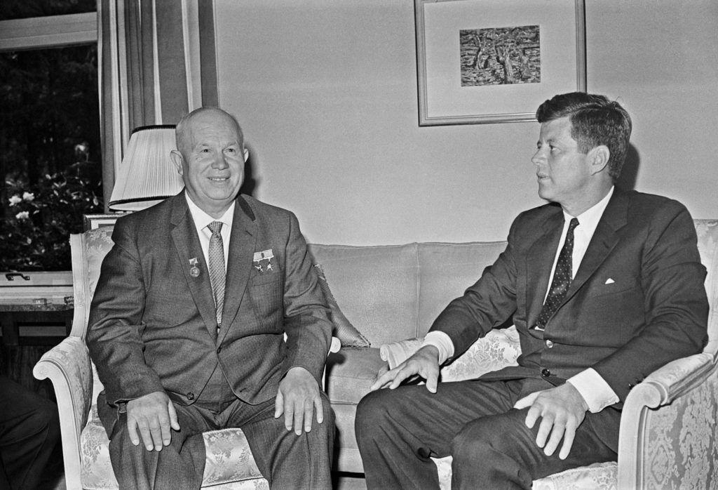VIENNA, AUSTRIA. Soviet leader Nikita Sergeyevich Khrushchev (L) and U.S. president John Fitzgerald Kennedy meet at the residence of the US ambassador in Vienna. (Photo TASS)