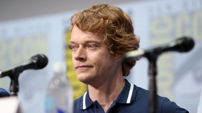 """SAN DIEGO, CA - JULY 21:  Actor Alfie Allen speaks at the """"Game of Thrones"""" panel with HBO at San Diego Comic-Con International 2017 at San Diego Convention Center on July 21, 2017 in San Diego, California.  (Photo by FilmMagic/FilmMagic)"""