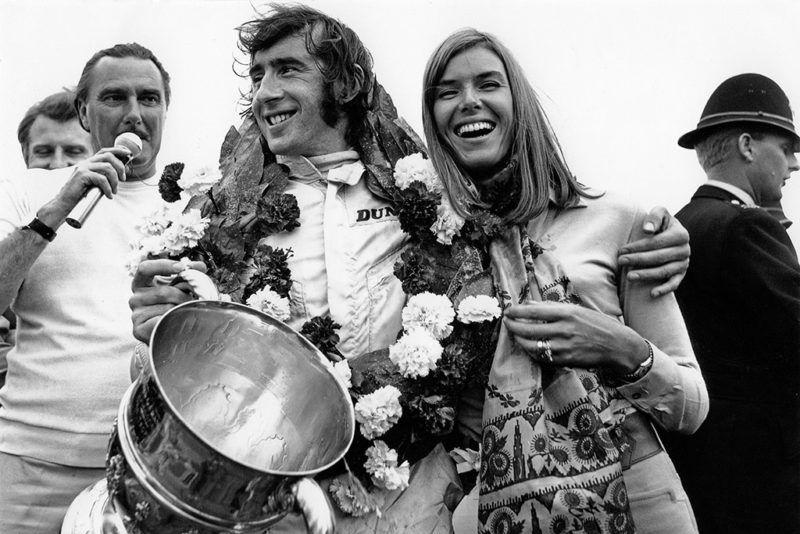 Jackie Stewart, Helen Stewart, Grand Prix of Great Britain, Silverstone Circuit, July 19, 1969. (Photo by Bernard Cahier/Getty Images)