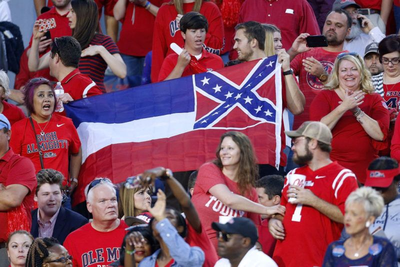 OXFORD, MS - OCTOBER 21: A Mississippi State flag is seen during a game between the Mississippi Rebels and the LSU Tigers at Vaught-Hemingway Stadium on October 21, 2017 in Oxford, Mississippi.  (Photo by Jonathan Bachman/Getty Images)