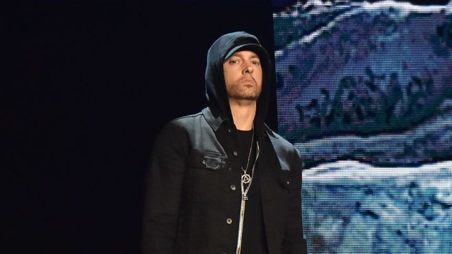 LONDON, ENGLAND - NOVEMBER 12:  Eminem performs on stage during the MTV EMAs 2017 held at The SSE Arena, Wembley on November 12, 2017 in London, England.  (Photo by Kevin Mazur/WireImage)