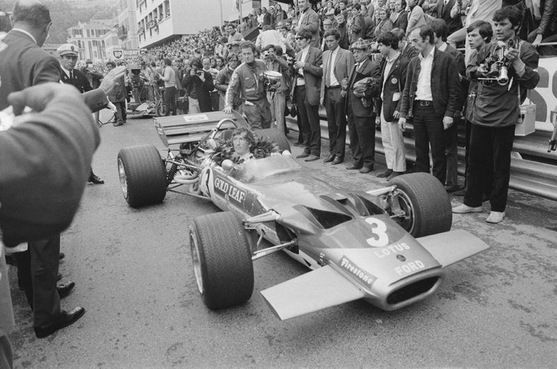 Austrian racing driver Jochen Rindt (1942 - 1970), driving #3 Lotus-Ford, wins 1970 Monaco Grand Prix, 10th May 1970. (Photo by Victor Blackman/Daily Express/Hulton Archive/Getty Images)