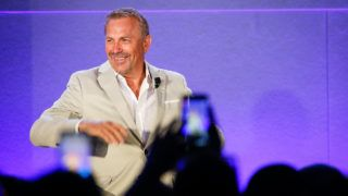 CANNES, FRANCE - JUNE 21:  Kevin Costner speaks during 'A conversation with Kevin Costner from Paramount Network and Yellowstone' during the Cannes Lions Festival 2018 on June 21, 2018 in Cannes, France.  (Photo by Richard Bord/Getty Images for Cannes Lions)
