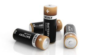 3d rendering alkaline batteries on white background