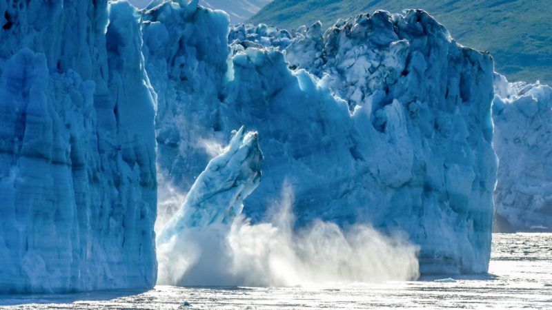 One of the most popular stops on an Alaskan cruise / Alaska vacation, Hubbard Glacier is a very active calving glacier. Unlike most glaciers, Hubbard is advancing vs. receding. Despite it's advancing status, this photo is often used to depict global warming and climate change as a massive piece of Hubbard glacier calves off into Disenchantment Bay