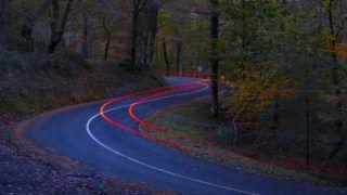 Car lights at night crossing in forest in autumn, Aiako Harriak natural park, Euskadi