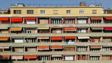 Colorful apartments in downtown Budapest, Hungary