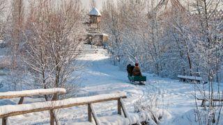 winter landscape in the village