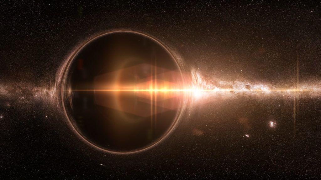 artist's interpretation of a black hole deforming spacetime