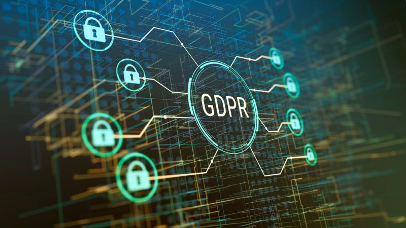 general data protection regulation GDPR concept, with abstract computer network background (3d render)