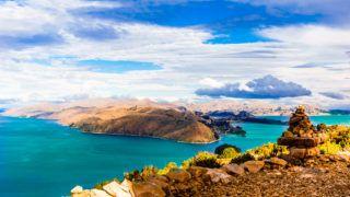 View on remote landscape on Isla del Sol by Lake Titicaca - Bolivia