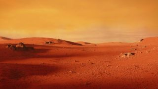 beautiful martian landscape, desert in outer space