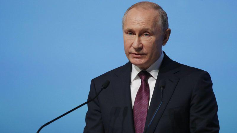 Szentpétervár, 2019. április 9.Vlagyimir Putyin orosz államfő beszédet mond az 5. alkalommal rendezett Északi-sarkvidéki Fórum nyitónapján, 2019. április 9-én Szentpéterváron. A kétnapos csúcstalálkozón Oroszország, Svédország, Norvégia, Finnország és Izland vezetői az eurázsiai sarkvidéki régió természeti erőforrásai kiaknázásának közös lehetőségeit vitatják meg.MTI/AP/Dmitrij Loveckij