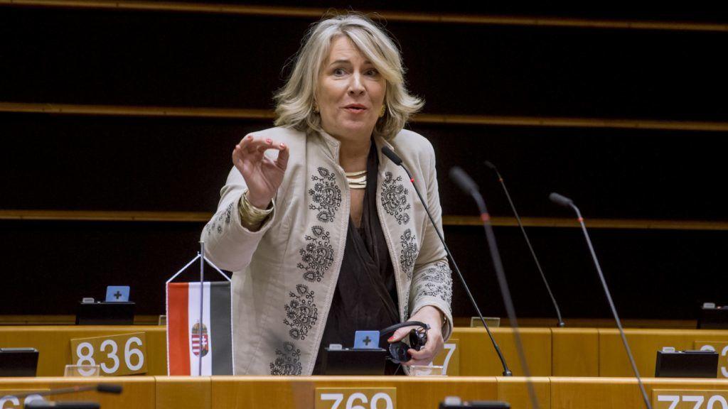 Brüsszel, 2019. január 31. Az Európai Parlament honlapján közreadott képen Morvai Krisztina európai parlamenti független képviselõ felszólal a jogállamiság magyarországi helyzetérõl tartott vitán a parlament plenáris ülésén Brüsszelben 2019. január 30-án. MTI/Európai Parlament/Jan Van de Vel