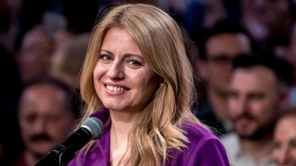 Pozsony, 2019. március 31. Zuzana Caputová, az ellenzéki liberális pártok elnökjelöltje nyilatkozik a sajtó képviselõinek Pozsonyban 2019. március 30-án, miután jelentõs elõnnyel megnyerte az ötödik közvetlen szlovák elnökválasztás, második, döntõ fordulóját. MTI/EPA/Martin Divisek