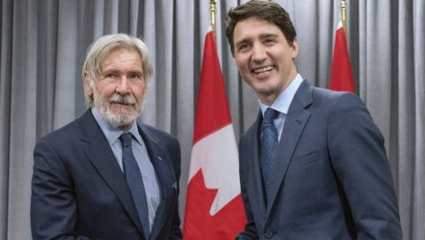 Prime Minister Justin Trudeau meets with actor Harrison Ford, Vice Chair of the Conservation International Board of Directors, at the Nature Champions Summit in Montreal on Thursday, April 25, 2019. THE CANADIAN PRESS/Paul Chiasson April 25, 2019