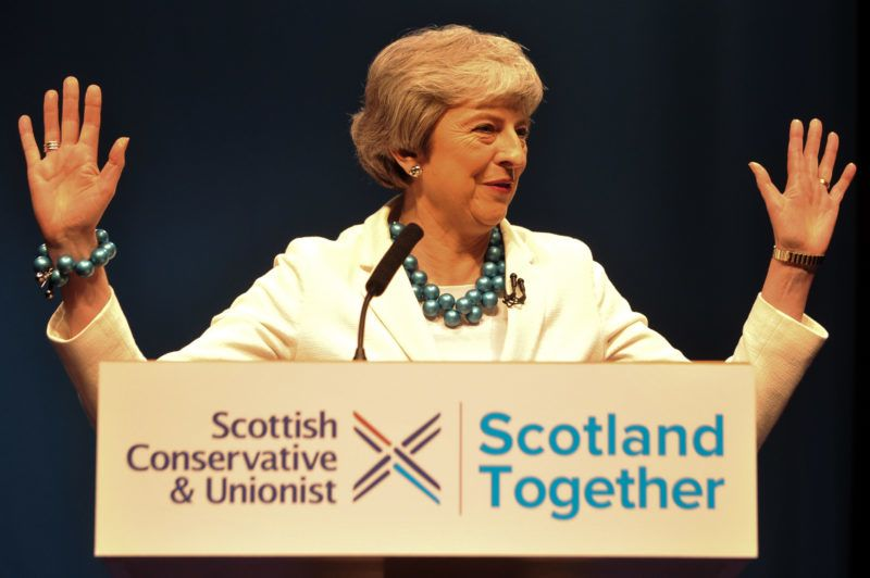 Britain's Prime Minister Theresa May speaks at the Scottish Conservative party conference in Aberdeen on May 3, 2019. (Photo by Andy Buchanan / AFP)