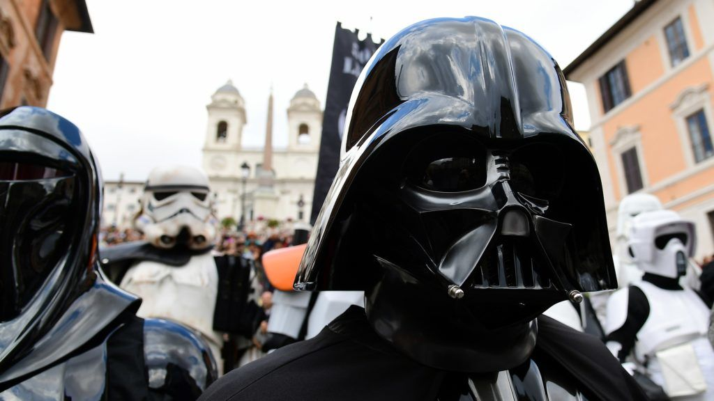 Actors impersonating Star Wars movie's characters pose on the Rome's Spanish Steps during an event to mark the Star Wars Day in Rome on May 4, 2019. (Photo by Vincenzo PINTO / AFP)