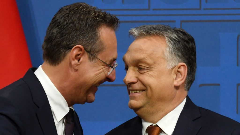 Austria's Vice-Chancellor and chairman of the Freedom Party FPOe Heinz-Christian Strache talks  with Hungarian Prime Minister Viktor Orban (R) at the end of a press conference at the Carmelite monastery of the prime minister's office in Budapest on May 6, 2019. (Photo by ATTILA KISBENEDEK / AFP)
