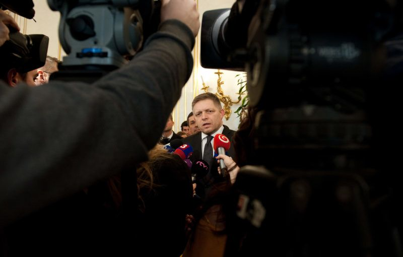 Slovakia's Prime Minister and the Slovak Smer-Social Democracy party leader, Robert Fico talks to media after he was assigned by Slovak President to lead talks on a new cabinet on March 9, 2016 in Bratislava. - A Slovak extreme right nationalist party made spectacular gains in weekend elections thanks to anti-migrant sentiment in the EU member state and Prime Minister Robert Fico's decision to tap into it on the campaign trail, analysts say. (Photo by SAMUEL KUBANI / AFP)