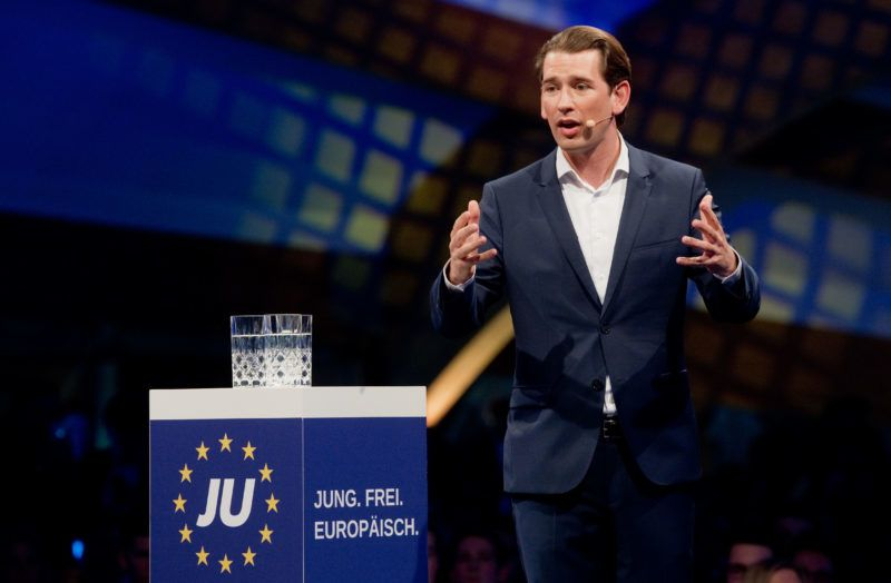 04 May 2019, Lower Saxony, Hanover: Sebastian Kurz (ÖVP), Austrian Federal Chancellor, speaks at the European Camp of the Young Union in the Expowal. Photo: Julian Stratenschulte/dpa