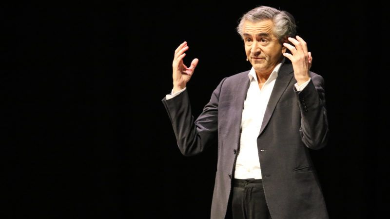 Bernard-Henri Levy the  French public intellectual performing on a stage is seen in Gdansk, Poland on 12 April 2019 Levy visited European Solidarity Centre (ECS) in Gdansk to perform his play Looking For Europe  (Photo by Michal Fludra/NurPhoto)
