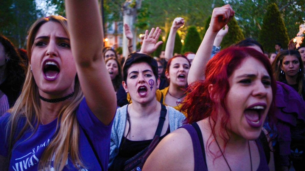Women shout slogans in front of the Supreme Court during a protest against 'La Manada' (Wolf Pack) in Madrid on 4th May, 2018. (Photo by Juan Carlos Lucas/NurPhoto)