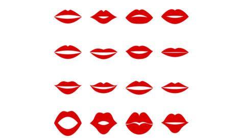 Set of red lips, vector illustration
