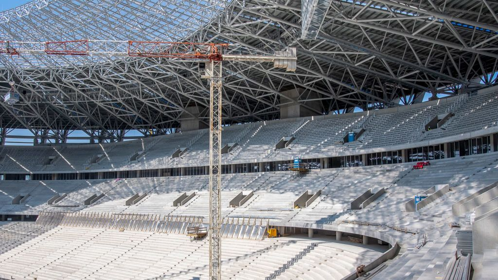 """Image: 73881101, Puskás Ferenc születésnapja után egy nappal Fürjes Balázs kormánybiztos nyitotta meg azt az általa csak """"munkaértekezletnek"""" nevezett bejárást, amelyen a sajtó munkatársai is megnézhették, hogyan áll az új Puskás Ferenc Stadion építése., Place: Budapest, Hungary, Model Release: No or not aplicable, Property Release: Yes, Credit: smagpictures.com"""