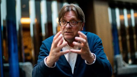Image: 73896599, Guy Verhofstadt interjú, Place: Budapest, Hungary, Model Release: No or not aplicable, Property Release: Yes, Credit: smagpictures.com