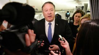 US Secretary of State Mike Pompeo speaks to reporters in flight after a previously unannounced trip to Baghdad on May 8, 2019. - Pompeo is scheduled to meet with the Iraqi prime minister and president. US Secretary of State Mike Pompeo landed in Baghdad late on May 7 on an unannounced visit, an Iraqi government source told AFP, after he cancelled a trip to Germany amid escalating US-Iran tensions. (Photo by MANDEL NGAN / POOL / AFP)