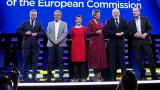 (From L) Candidates for the upcoming European Commission president elections Czech Jan Zahradil of Alliance of Conservatives and Reformists in Europe (ACRE), Spanish Nico Cue of European Left (EL), German Ska Keller of the European Green Party (EGP) Danish Margrethe Vestager of the Alliance of Liberals and Democrats for Europe (ALDE), Dutch Frans Timmermans of the Party of European Socialists (PES) and German Manfred Weber of European People's Party (EPP) pose ahead of the Eurovision presidential debate at the European Parliament in Brussels, Belgium, on May 15, 2019. (Photo by Aris Oikonomou / AFP)