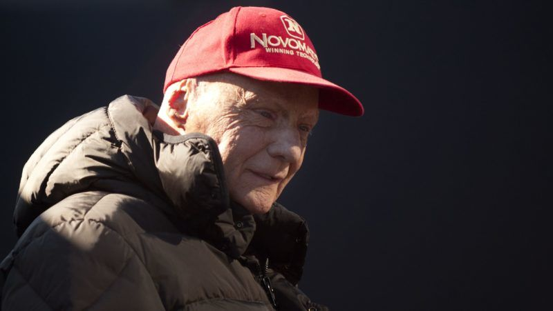 (FILES) In this file photo taken on February 1, 2015 Austrian former Formula One driver Niki Lauda looks on during the first day of the Formula One pre-season tests at Jerez racetrack in Jerez. - Former F1 champion Niki Lauda dies: family tells media on May 21, 2019. (Photo by Jorge Guerrero / AFP)