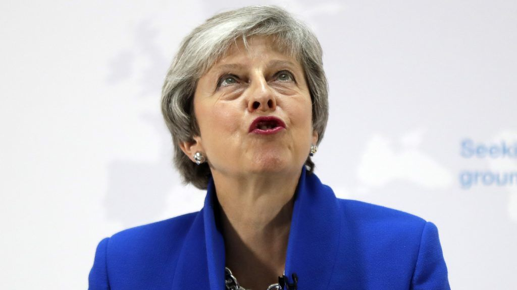 Britain's Prime Minister Theresa May delivers a keynote speech in central London on May 21, 2019. (Photo by Kirsty Wigglesworth / POOL / AFP)